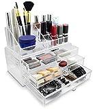 Grinscard Kosmetik & Schmuck Organizer 3 Schubladen - Transparent 24 x 19 x 14 cm - Box Aufbewahrung & Präsentation