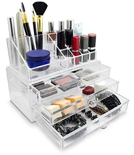 Grinscard Kosmetik & Schmuck Organizer 3 Schubladen - Transparent 24 x 19 x 14 cm - Box Aufbewahrung & Präsentation -