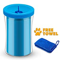 SYOSIN Dog Paw Cleaner Portable Pet Paw Washer Cup with a Towel, Soft Silicone Bristles for Cleaning Muddy Dog Feet