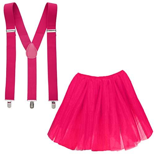 Goldschmidt Kostüme Tüllrock und Hosenträger Set Verkleidung Kostüm Karneval Petticoat Tutu (pink) (Flamingo Hosenträger)