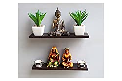 Madhuran Display Wall Dcor Shelf Wenge Set of 2-(10X40) CM / Wooden Decorative Decoration Dining Dark Storage Shelves Stand Slabs Showcase Statues Shower Stellar Mounted Mdf Multipurpose Counter Cupboard Chest Cabinet Home Holder Kitchen Keeping Rectangular Racks Room Ladder Living Floating Brown Black Book Bed Organizer Office Perfect Place Photo Frames Utility Trophy Captiver Series