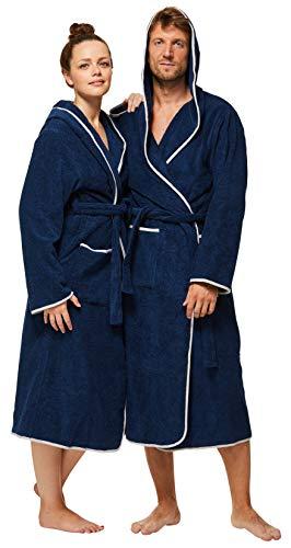 Sowel® Bademantel Damen und Herren, 100% Baumwolle, Kapuze, Extra Lang, Flauschiges Frottee, Premium, L, Navy/Grau - Langer Frottee-bademantel