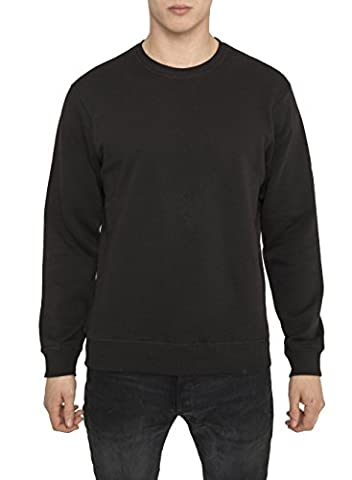 Mens Designer Urban Fashion Casual Sport Luxe Black Plain Sweatshirts, High Quality 100% Cotton Jersey Jumpers, Modern Crew Neck Regular Fit Long Sleeve Tops, Trendy Summer Clothing for Men S M L XXL