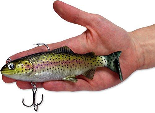 XXL Raubfischköder extrem realistische Regenbogenforelle, beweglich Drillinge Haken Angeln Fischen Spinning - 15 cm