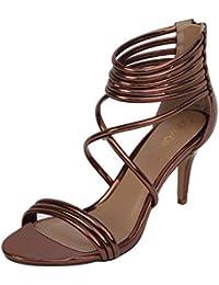 Catwalk Women's Metallic Strappy Stilettos