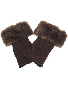 [Sponsorizzato]Butterme Faux Fur Leg accessori calze stivali invernali donne Scaldamuscoli Knit Stivali Calze Topper Cuff (Caffè)