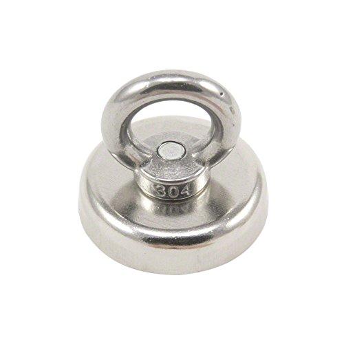First4magnets F4MA48M8-EYE-1 48mm Durchmesser Klemmung Neodym-Magneten mit M8 Öse-90kg ziehen, silver, 25 x 10 x 3 cm