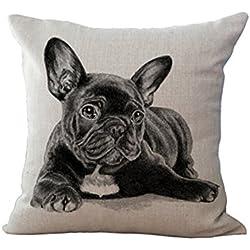 """Potencia de la nube 3d Cute French Bulldog Patter Casual Style lino y algodón manta decorativa Funda de almohada cojín abstracto pintura 18""""x18"""""""