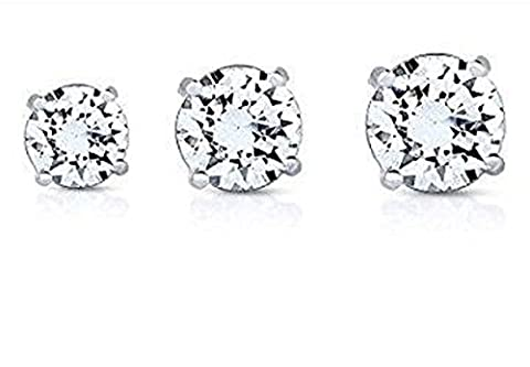 iszie Jewellery Sterling Silver 3-6 MM Classic Round Cubic Zirconia Crystal Stud Earrings-White (Set of 5,6,7 mm)