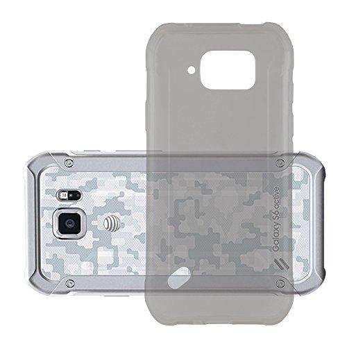 Cadorabo Hülle für Samsung Galaxy S6 Active - Hülle in TRANSPARENT SCHWARZ – Handyhülle aus TPU Silikon im Ultra Slim 'AIR' Design - Silikonhülle Schutzhülle Soft Back Cover Case Bumper