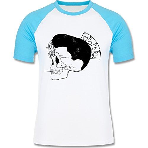 Rockabilly - Rockabilly Schädel - zweifarbiges Baseballshirt für Männer Weiß/Türkis