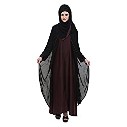 Black & Maroon Nida Double layer Zipper Front Open Formal Abaya (Medium)