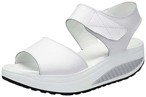 DAFENP Donna Sandali con Zeppa Estivi Scarpe Fitness Dimagranti Comode Pelle Sandali Platform per Camminare lx308-white2-40EU
