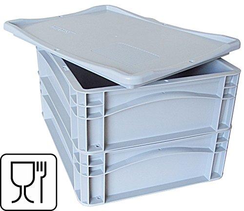 Palatis 2x Pizzateigbehälter Pizzaballenbox Pizzaballenbehälter 400 X 300 X 120mm