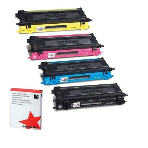 Preisvergleich Produktbild 4x Original Tonerkartusche für Brother HL 4040 CN, 4050 C, TN135 - 1x BLACK, 1x CYAN, 1x MAGENTA, 1x YELLOW + 500 Blatt Ti-Sa Kopierpapier 80g weiß -
