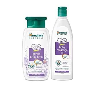 Himalaya Baby Massage Oil, 200ml with Gentle Baby Bath, 200ml