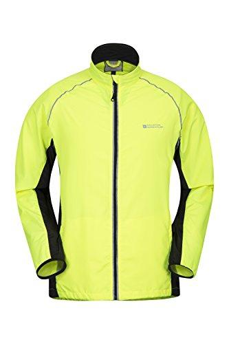 Mountain Warehouse Force Herrenjacke - Leicht, praktisch, Frühlingsjacke, wasserbeständig, Warnstreifen in Neonfarben - Ideal zum Radfahren, Laufen Gelb Large
