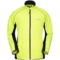Mountain Warehouse Force Mens Jacket - Lightweight Summer Coat, Easy to Pack Spring Jacket, Water Resistant, High Visibility Stripes in Bright Neon –for Cycling, Running