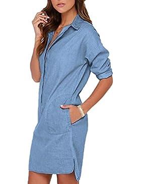 XGMSD Mujer V-cuello Suelto Camisa Primavera Verano Medio Y Larga Jean