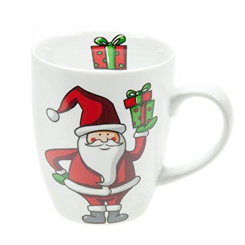 Unbekannt Flirt 250695 Kaffeebecher 'Merry Christmas' 360ml, Porzellan, Weiß/Rot/Grün (1 Stück)