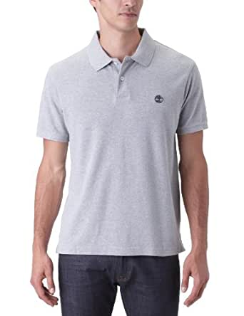 Timberland Clothing Men's Pique Short Sleeve Polo Shirt, Grey (Medium Grey Heather), Small