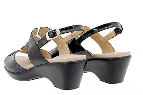 Scarpe donna comfort pelle PieSanto 1859 Sandali Plantare Estraibile larghezza speciale Negro