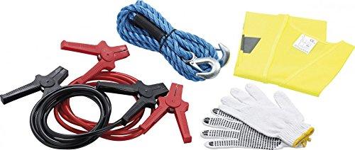 Lescars - Kit d'urgence auto avec gilet de sécurité, câble de remorquage et de démarrage