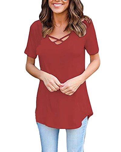 ZANZEA Damen Kurz Arm V-Ausschnitt Sommer Oversize Langshirt T-Shirt Bluse Oberteil Tops purpurrot rot