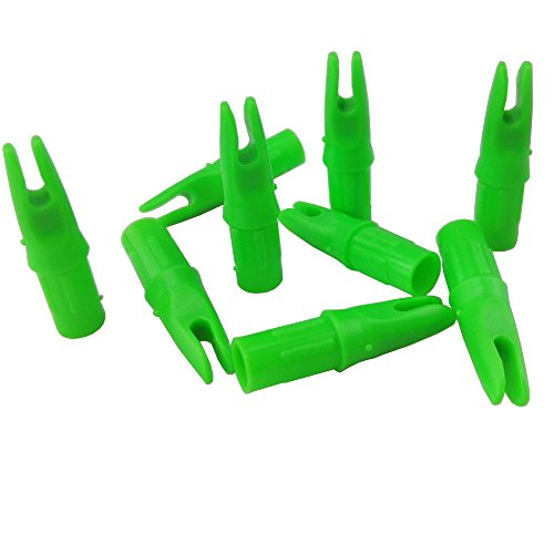 ZSHJG 50pcs Bogenschießen Pfeilnocken Kunststoff Pfeil Nocke Jagd Einfügen Plastinock Pfeilnocken für ID7,6mm Pfeil Welle Kunststoff Pin Nocke Welle Ende Zubehör (Grün)