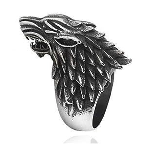 Malidou - Anillo de lobo de Juego de Tronos con caja de joyería, anillo de Juego de Tronos para hombres (plata antigua) 2