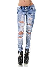 bb290c6913dc36 Simply Chic Damen Crash-Jeans moderner Destroyed-Style light blue Q1759