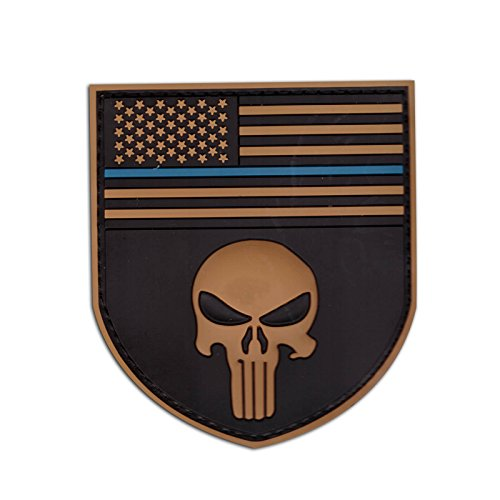 Punisher Shield Patch PVC Seal Team USA Aufnäher Special Force (Braun)