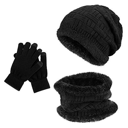 Gifort Unisex Wintermütze Skimütze Schal Mütze Set Touchscreen Handschuhe 2 in1 Warme Mütze Strickmütze Winterschal mit Fleecefutter