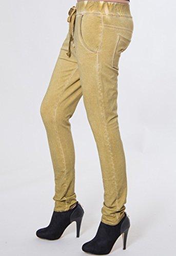 CASPAR - Pantalon boyfriend stonewashed pour femme - pantalon en sweat FABRIQUÉ EN ITALIE - plusieurs coloris - JNS003 curry