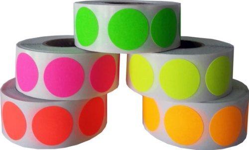 Circulo Punto Pegatinas 5 Fluorescente Color Paquete, 19 mm 3/4 Pulgada Redondo, 500 Etiquetas de Cada Color en un Rollo