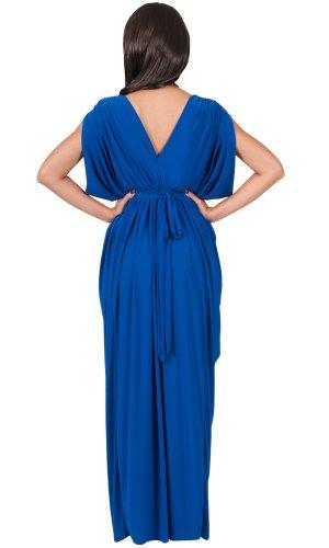 KOH KOH® Femmes Robe Longue Grecque Sans Manches Col V Bleu Colbat