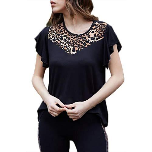 (TWIFER Damen Sommer Shirt Art Und Weise Beiläufige Leopard Kurzschluss Hülse T-Shirt)