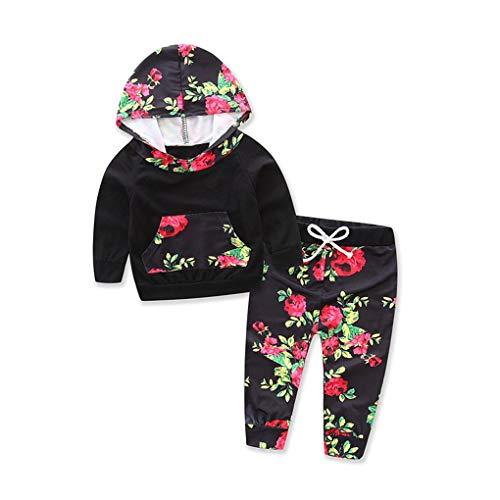 Coddington 2ST Infant Baby-Kind-Mädchen BlumeHoodie Top Hosen Stellen Kostüme Outfit Taschen-Sweatshirt - Adorable Kleinkind Kostüm