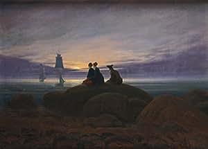 """Millésime Caspar David FRIEDRICH """" Lever de lune sur la mer """" Environ 1822 - Sur Format A3 Papiers Brillants de 250g. Affiches de Reproduction"""