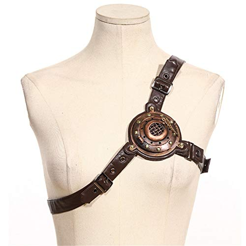 wrock Body Half Chest Harness Gürtel Bund Beefy und Aggressive Look Club Wear Kostüme Cosplay Steampunk Gothic Guard Rüstung mit Licht Cocktailkleid ()