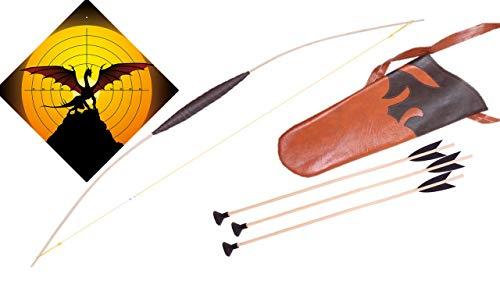 filounior Kinderbogen Set mit 3 Pfeilen, Köcher / Pfeil und Bogen Set Opt. Zielscheibe (Drache)
