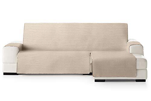 JM Textil Copridivano Salvadivano Chaise Longue Elena, Protezione Imbottita per divani Bracciolo Destro. Dimensione -240cm. Colore Avorio 01 (Visto di Fronte)