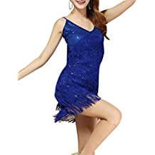 La Sra Latina Trajes Danza Lentejuelas Borla Ropa De Baile Latino Zafiro
