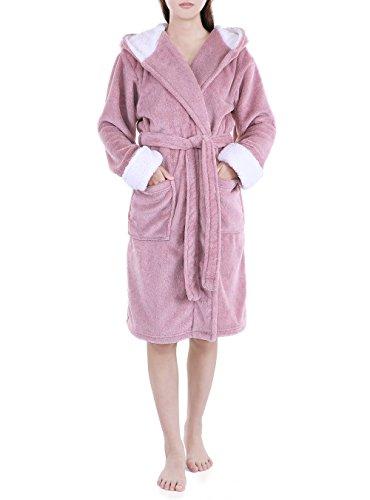 Genuwin Damen Bademantel mit Kapuze Luxury Morgenmantel aus Mikrofaser mit Seitentaschen, Öko Tex 100 - Üppig und Weich- 3/4-lang Wadenlang (S, Pink)