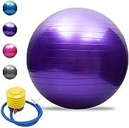Tomshoo Pelota de yoga antipinchazos, gruesa, estable, pelota de equilibrio, pilates, barra, fitness, 45 cm/55