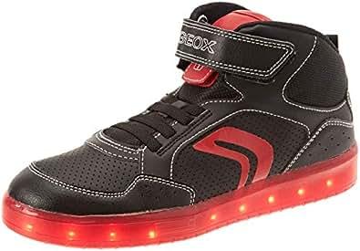 Geox J Kommodor C, Sneaker a Collo Alto Bambino, Nero (Black/Red C0048), 28 EU