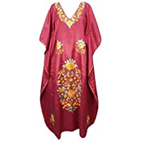 Mogul Interior Womens Kaftan Dress Maroon Floral Embellished Lounge Gown Maxi Caftan One Size