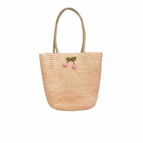 BAGEHUA tessute a mano borsa in tessuto Ladies borsetta paglia ciliegio borsa da spiaggia C B