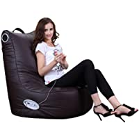 Puregadgets© Adult Size XXL Speaker Leather Beanbag High Back Chair for Gaming Music Ipod Iphone Bean Bag Pod Seat available in Chocolate Brown