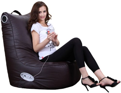 PuregadgetsC Adult Size XXL Speaker Leather Beanbag High Back Chair For Gaming Music Ipod Iphone Bean Bag Pod Seat Available In Chocolate Brown